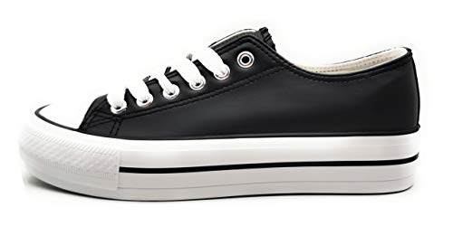 P&L Zapatillas Blancas Negras Mujer con Plataforma Poli Piel Bambas Suela Doble de Material Deportivas Plataforma de Napa