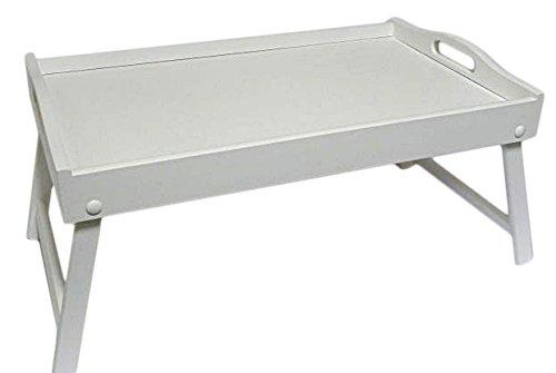 Bett-Tablett aus Holz, mit klappbaren Beinen, für Frühstück im Bett, holz, weiß, 50 x 30 x 22 cm
