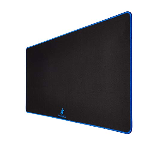 AnubisGX (39 Color/Size Options) Gaming Mouse Pad (XL: 36x18), Black Pad with Blue Stitching. Best Premium Waterproof Non RGB Computer Gaming XL Desk Pad Mat, Large Non-Slip Gamer Mousepad
