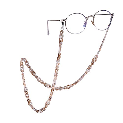 AMOZ Cadena de Gafas Antideslizante Gafas de Sol Acrílicas Cordón Lentes de Lectura Soporte de Cable Correa para el Cuello para Mujer Turquesa,Marrón Claro