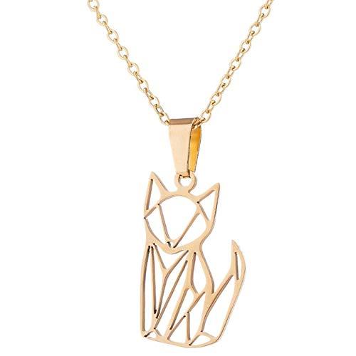 VAWAA Origami Katze Halsketten Anhänger Mädchen Schmuck Kinder Halsband Gato Edelstahl Geometrische Katze Halskette Haustier Liebhaber Geschenke