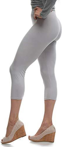 LMB Lush Moda Extra Soft Capri Leggings - Variety of Colors - Light Grey