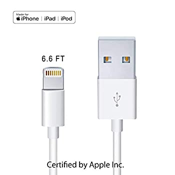 MOHAN Apple Original Charger [Apple MFi Certified] Lightning to USB Cable Compatible iPhone Xs Max/Xr/Xs/X/8/7/6s/6plus/5s iPad Pro/Air/Mini iPod Touch White 2M/6.6FT  Original Certified