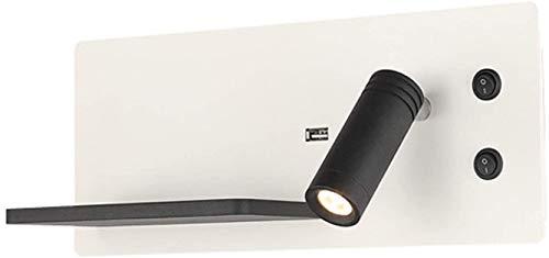 GIOAMH Aplique de pared interior ajustable con interruptor, aplique de pared LED moderno con puerto USB, bandeja de metal, blanco cálido de 3000 K, focos de pared negros, lámpara de pared para mesita
