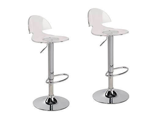 jersey seating 2 x Acrylic Hydraulic Lift Adjustable Counter Bar Stool Dining Chair Clear -Pack of 2 (2003)