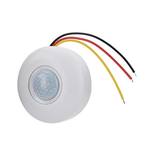 Agatige Interruptor de Sensor de Movimiento de 360 ° Control Fotosensible Interruptor de Detector de Movimiento PIR con Retardo de Tiempo para luz de Techo LED