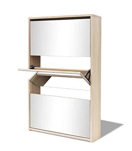 Mueble Zapatero Espejo, Zapatero de Roble con 3 Compartimentos, 63 x 17 x 102,5 cm