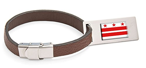 District of Columbia Flag Leather Luggage Tag Steel Engraved Text