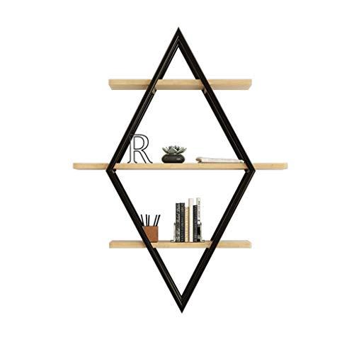 ZBJJ Étagère Murale rectangulaire avec 3 Niveaux | Rangement pour Le Salon | Bois Naturel et métal Noir | Étagère Vintage Industrielle | Étagères de Cuisine pré-assemblées