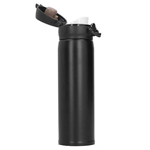Jeankak Vakuum-Wasserbecher, ungiftiger, praktischer, modischer Thermosbecher, leicht für die Reiseschule(Black)