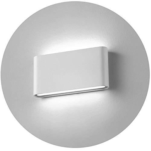 Topmo-plus 12w lámpara de pared LED impermeable IP65 moderno apliques aluminio apliques llevó exterior Arriba y Abajo Diseño Bañadore de vestíbulo 1320LM (Blanco frío/blanco)