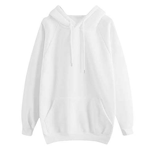 Lazapa Solid Color Hooded Sweatshirts for Women Drawstring Long Sleeve Pullover Casual Loose Fit Shirt Top Blouse with Pocket White