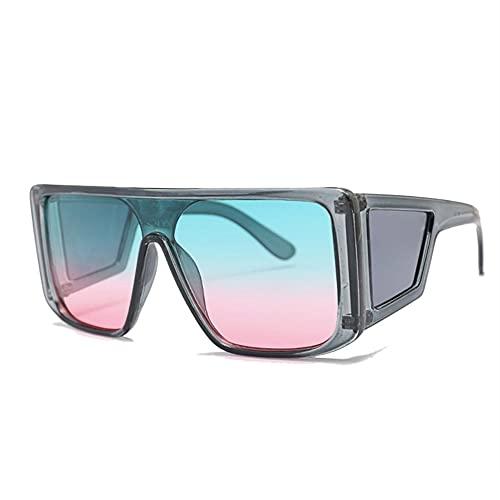 HAIGAFEW Gafas De Sol Grandes para Mujer Gafas De Sol Cuadradas De Gran Tamaño para Mujer Hombre Gafas De Espejo Negras Uv400 Proteger Los Ojos-Azul grisáceo