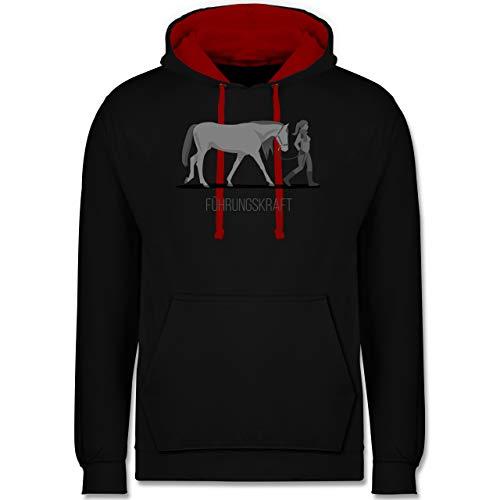 Shirtracer Reitsport - Führungskraft - L - Schwarz/Rot - schwarz Tshirt 4XL - JH003 - Hoodie zweifarbig und Kapuzenpullover für Herren und Damen