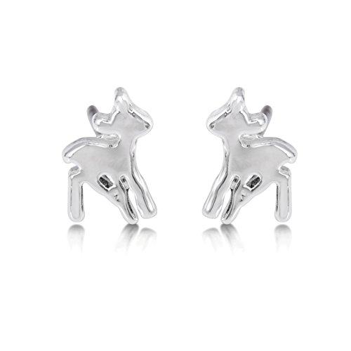 Disney Couture Kingdom - Pendientes de tuerca chapados en oro blanco con diseño de ciervo de Bambi