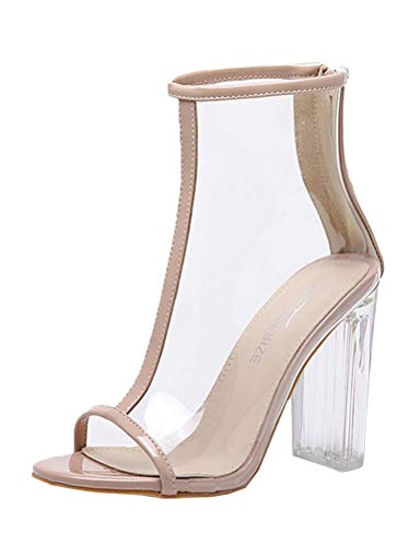 Tomwell High Heels Sandaletten Damen Stiletto Schuhe Transparente Peep Toe Sommer Sandalen Party...