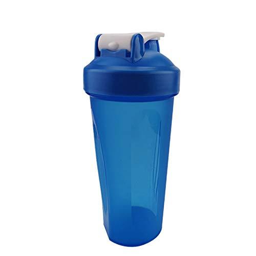 LSGMC Botella De La Coctelera Taza Plástica Deportes De Agua Portátil a Prueba De Fugas Suministros Blender Multifuncional Shake Copa, 600ml,Azul