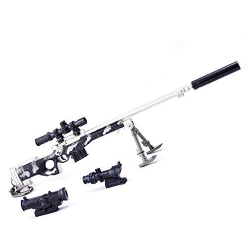 DJIEYU 1/4 Escala Militar Militar Miniatura Magnum AWM AWP Rifle de francotirador pistolas de metal modelo pistola figura accesorios de juguete llavero Die Cast Decoración Juguetes