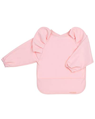 Waterproof Long Sleeve Baby Bibs for Baby Girl – Waterproof Bibs - Wipe Clean, Washable - Long Sleeve Bibs for Babies with Food Catcher - Long Sleeve Bib for Babies, Toddler - Baby Smock for Eating