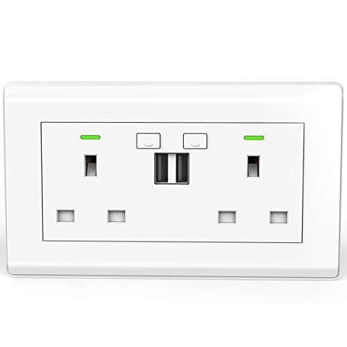Enchufe inteligente de doble conmutación WiFi de pared de 13 A con dos puertos de carga USB de carga rápida, toma de corriente inalámbrica inteligente compatible con Alexa, Google Home e IFTTT