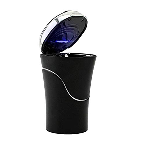 Generp Solarbetriebener Auto-Aschenbecher mit Klappdeckel, LED-Licht, tragbar, abnehmbar, große Kapazität, für die meisten Autos