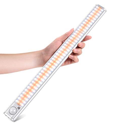 160 LED Bewegungsmelder Schrankbeleuchtung Schranklicht Nachtlicht USB Wiederaufladbar Einstellbare Helligkeit 3 Farbwechsel mit Magnetstreifen für Schrank, Flur, Kleiderschrank, Küche, Treppe 4 Modi