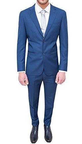 Abito Completo Uomo Sartoriale Slim Fit Vestito Formale Elegante Cerimonia (46, Blu)