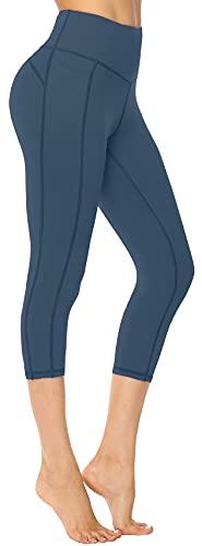 Persit Sport Leggings Damen 3/4, Capri Sporthose Sport Leggins Yoga-Hose für Damen Schotenblau - 40-42 (Herstellergröße: L)