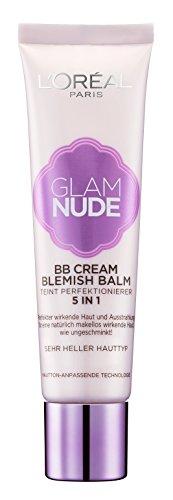 L'Oréal Paris Glam Nude 5in1 BB Cream Blemish Balm Sehr Heller Hauttyp, Teint-Perfektionierer für eine natürlich makellos wirkende Haut, 30 ml