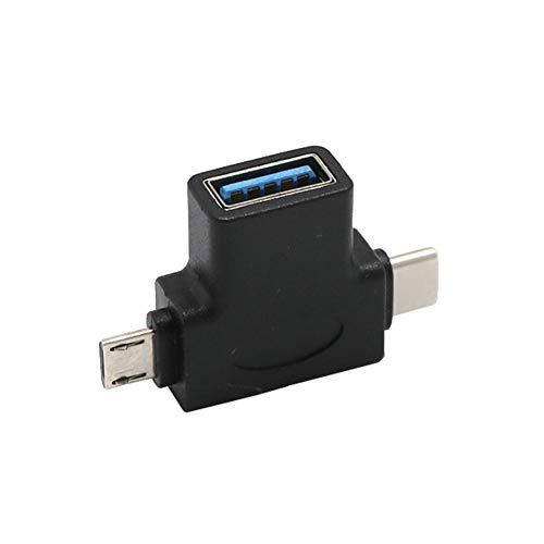 Greatangle-UK USB 3.0 Hembra a Micro USB 5 Pin Macho y Tipo C (USB C) Adaptador OTG Macho Negro