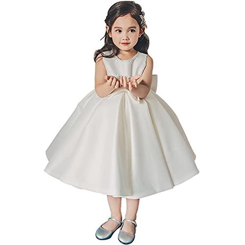 Vestido de niña de Flores de niños Blanca, Primer Vestido de cumpleaños de la niña Vestido de Novia sin Mangas Celebración,Blanco,S