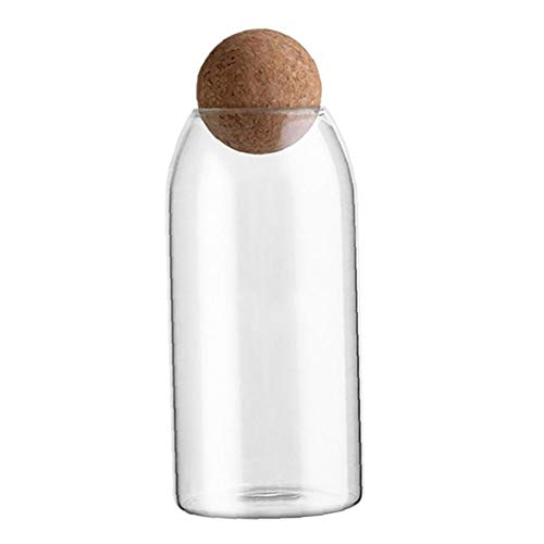 Nicetruc Botella de Cristal de Almacenamiento de Alimentos Tarro de Cristal Tarro Transparente con Corcho para Frijoles Granos de té Caramelo Grande
