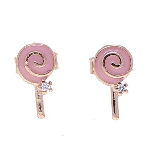Boucles d'oreilles Femme 925 Argent Sterling Mignon Doux Rose Bonbons Coeur Verre À Vin Pile Boucle d'oreille Femmes Charme Bijoux-E949