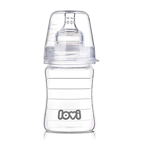 LOVI Anticólica Botella Biberón de Vidrio con Tetina Dinámica Silicona | 150ml | Sistema SUPER Air Vent | Protege el Reflejo Natural de Succión de Bebé
