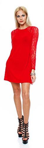 Mississhop 20-01 Damen Partykleid Kleid mit Spitzenärmeln A-Linie Rot 2XL