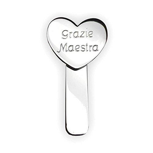 Flores Segnalibro con Incisione Grazie Maestra, Argento 925/1000 Idea Regalo per Le maestre. Regalo fine Anno maestre