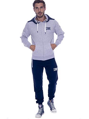 tuta uomo leone LEONE - Tuta da Uomo con Logo Piccolo Basic - Grey Melange-Navy Blue (410)