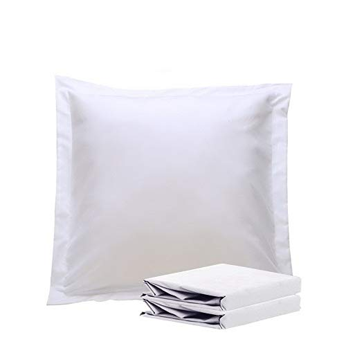 NTBAY 100% Brushed Microfiber European Square Throw Pillow Cushion Cover Set of 2, Soft and Cozy, Wrinkle, Fade, Stain Resistant (26 x 26 inches, White)