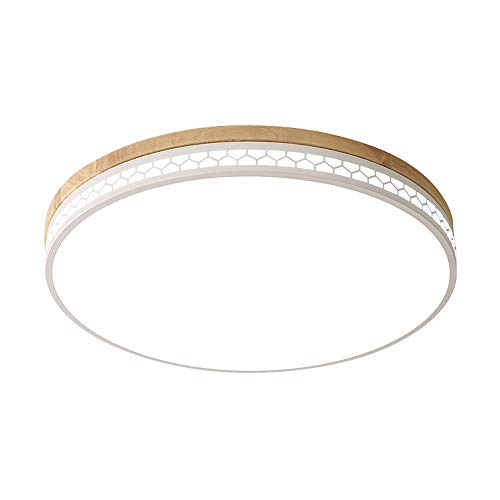 LED plafondlamp modern ultradunne 6cm plafondlamp plafondspot houten lamp ronde houten lamp eiken slaapkamer lamp LED kamerlamp plafond licht acryl scherm (grootte: Ø30 cm 18W) [energieklasse A ]