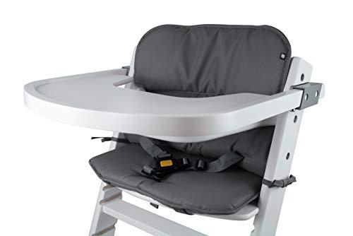 Tinydo® Universal Hochstuhl-Sitzkissen optimal für Timba Safety 1st. und alle gängigen Treppenhochstühle - 2teilg. Set mit Memory-Schaum Sitzverkleinerer-Auflage für Babystühle rutschfest (Dunkelgrau)