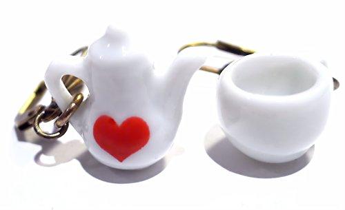 Die Schmuckstücke 6–Ohrringe Fantasie Tea Time–Tasse und Menu 7066106Teekanne Miniaturen