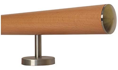 Buche Holz Treppe Handlauf Geländer Griff gerade Edelstahlhalter, Länge 30-500 cm aus einem Stück/zum Beispiel Länge 30 cm mit 2 gerade Halter - Enden = leicht gewölbte Edelstahlkappe
