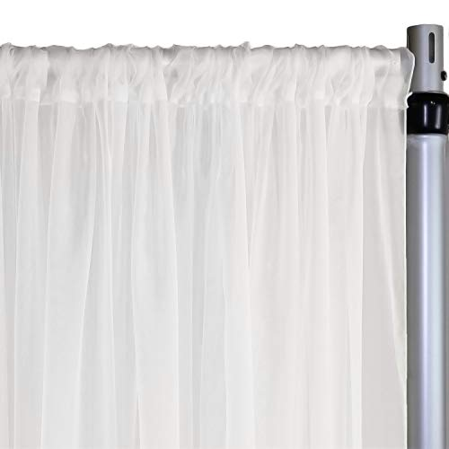 Your Chair Covers - Voile Sheer Drape, Bridal Curtain Backdrop for Wedding, Birthday, Baby Shower Decoration (10 ft x 116 inches, White)