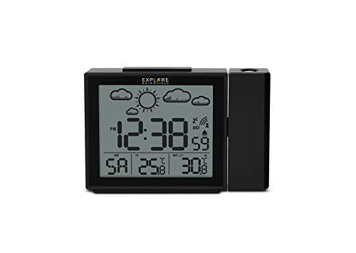 EXPLORE SCIENTIFIC RPW3009CM3000, Orologio a proiezione con visualizzazione radiocomandata dell'ora, Porta USB per ricaricare il telefono, sensore per temperatura interna, nero
