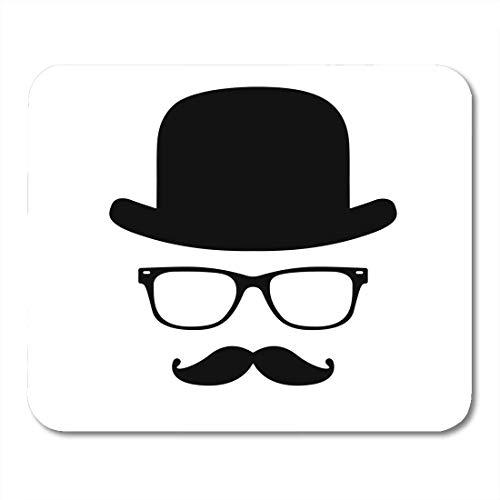 Mauspads Bowler Moustache Unsichtbarer Mann Hut Brille Gentleman Englisch Person Charakter Mauspad für Notebooks, Desktop-Computer Mausmatten, Büromaterial