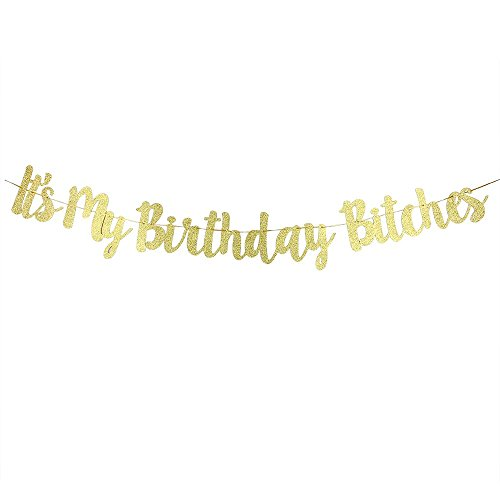 It's My Birthday Bitches Banner Gold Birthday...