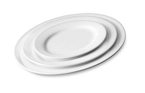 Servierteller MEDIUM Servierplatte Porzellan ovale Form 3 Größen 2er Set (29,5 x 21 x 2 cm)