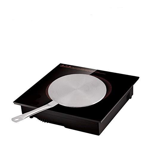 Fdit Adaptador Induccion Plato de Acero Inoxidable para difusor de Calor con Mango para cocinas eléctricas de inducción de Gas