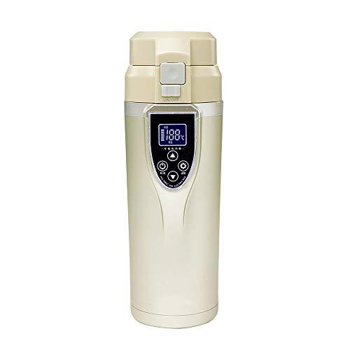 T-XYD Coupe Chauffage électrique, Voiture Chaude Tasse d'eau 350ML 100 degrés Bouilloire numérique Affichage de la température réglable 12 / 24V Universal 3 Couleurs,Champagne
