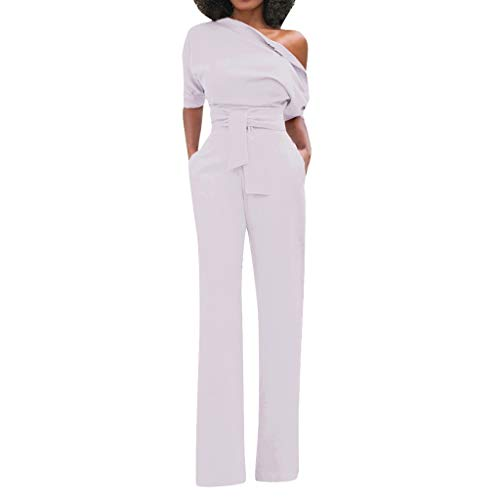 Women's Jumpsuits - Crewneck One Off Shoulder Short Sleeve Elastic Waist Romper Playsuits with Pockets White